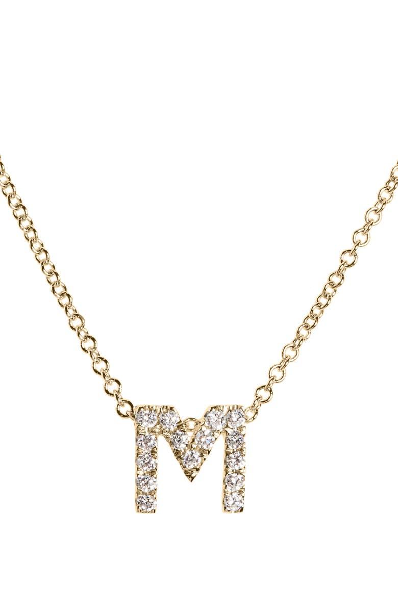 BONY LEVY 18k Gold Pavé Diamond Initial Pendant Necklace, Main, color, YELLOW GOLD - M