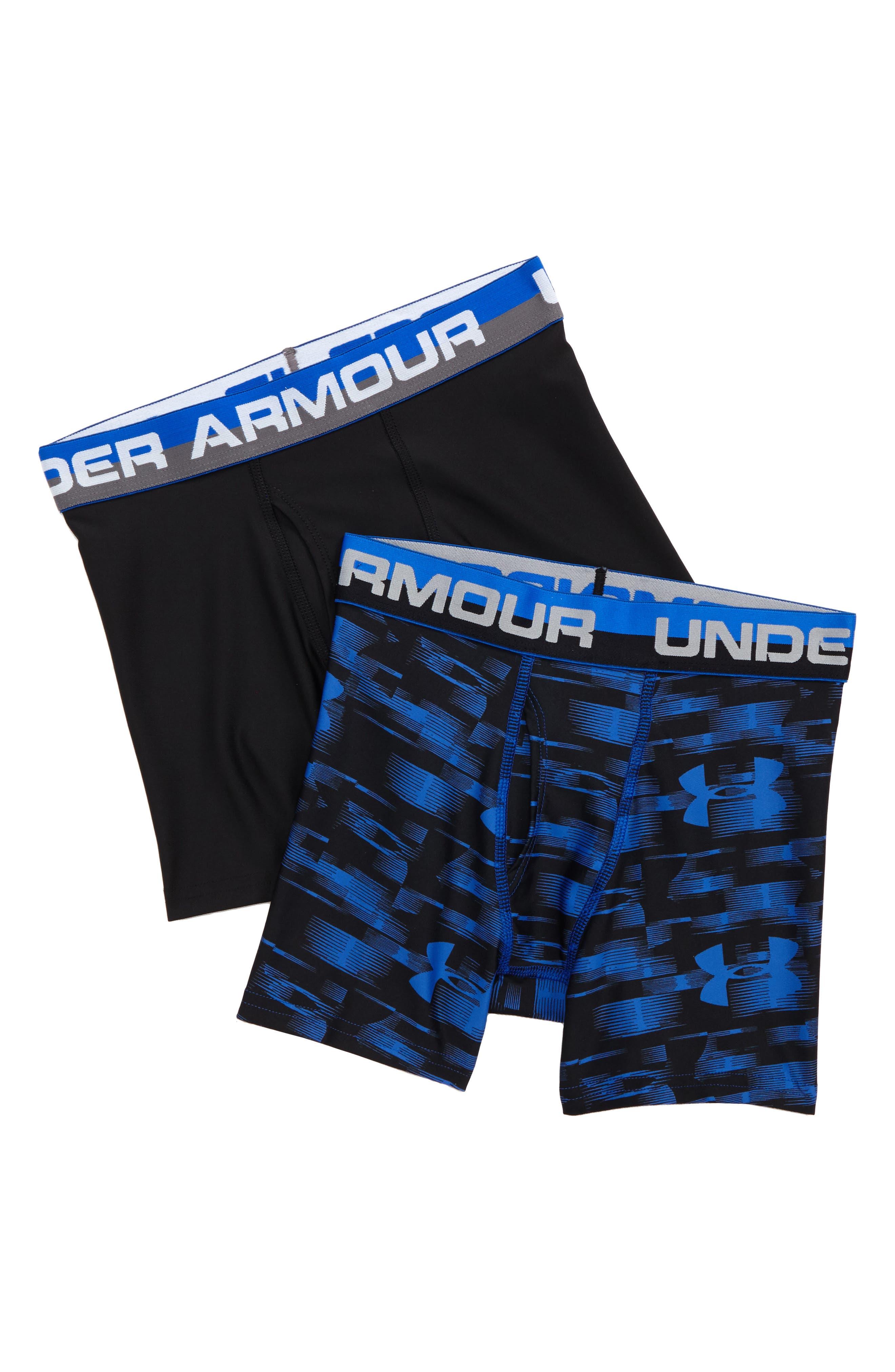 Boys Under Armour Original Blur 2Pack Boxer Briefs Size XL (1820)  Blue