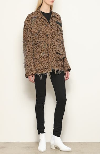 Shredded Oversize Leopard Print Jacket, video thumbnail