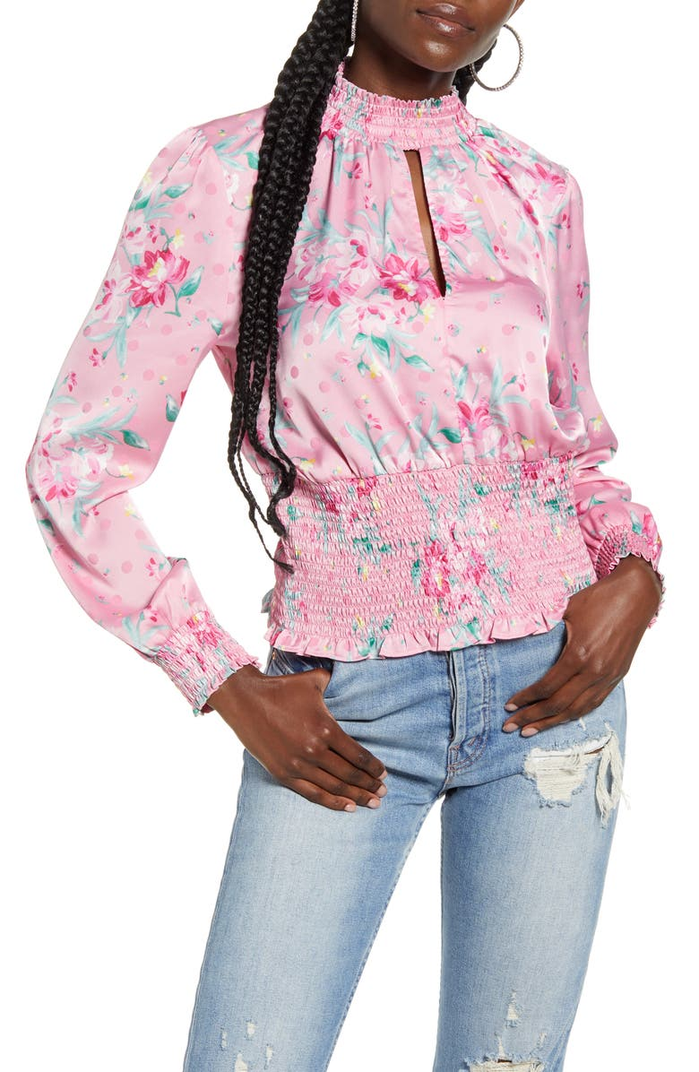 WAYF x Influencing in Color Dresyn Floral Smock Waist Satin Blouse, Main, color, 659