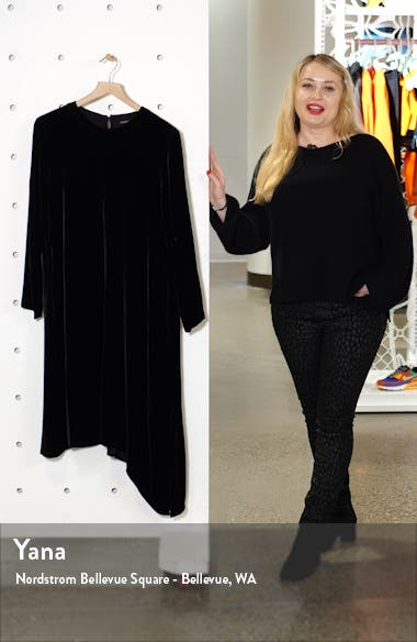 Asymmetrical Hem Velvet Long Sleeve T-Shirt Dress, sales video thumbnail