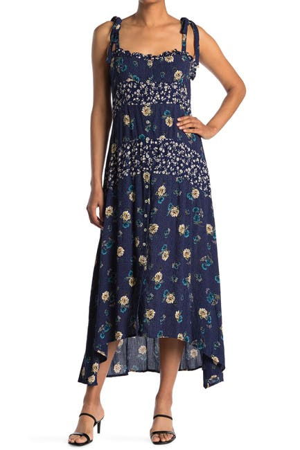Image of Angie Floral Square Neck Tie Strap Maxi Dress