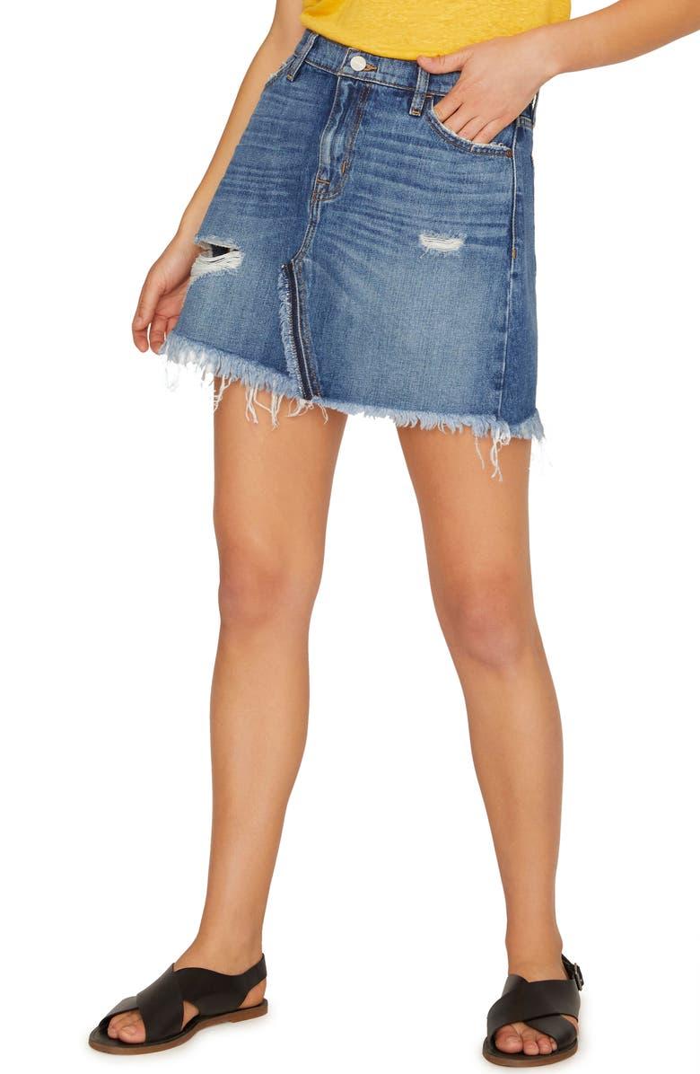 SANCTUARY Sunny Distressed Denim Miniskirt, Main, color, 610