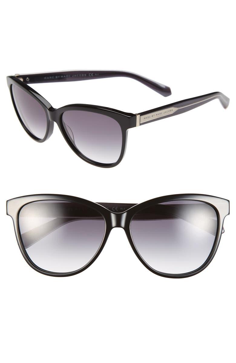 MARC BY MARC JACOBS 57mm Retro Sunglasses, Main, color, 001