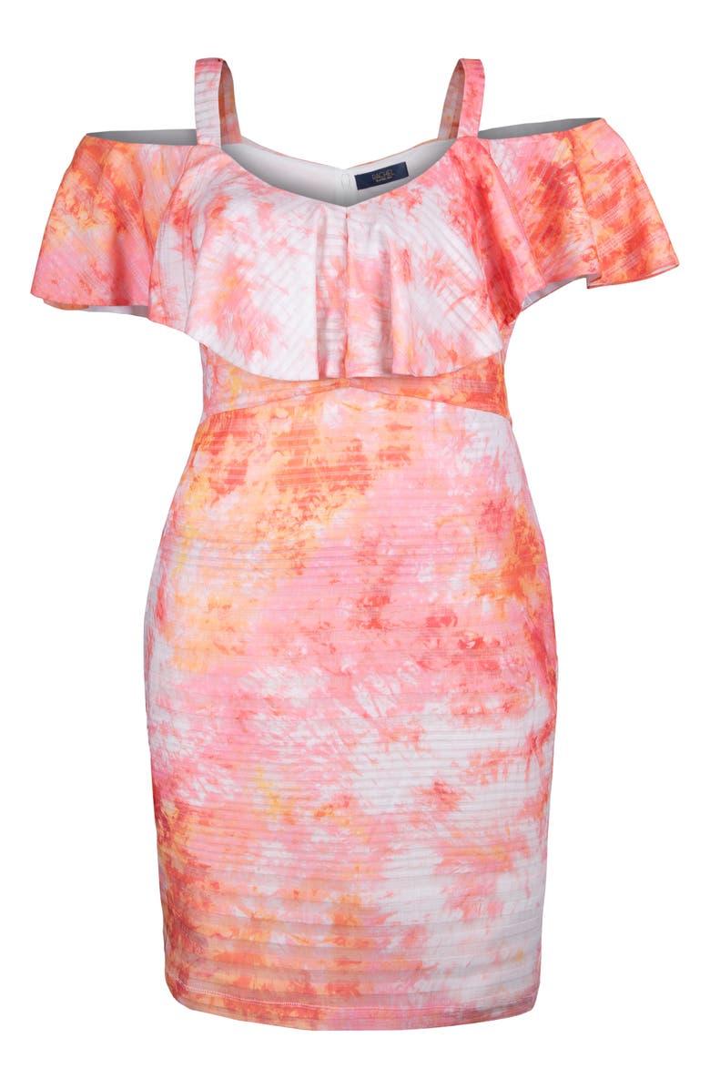 RACHEL RACHEL ROY Marcella Tie Dye Cold Shoulder Rib Dress, Main, color, MULTI COMBO
