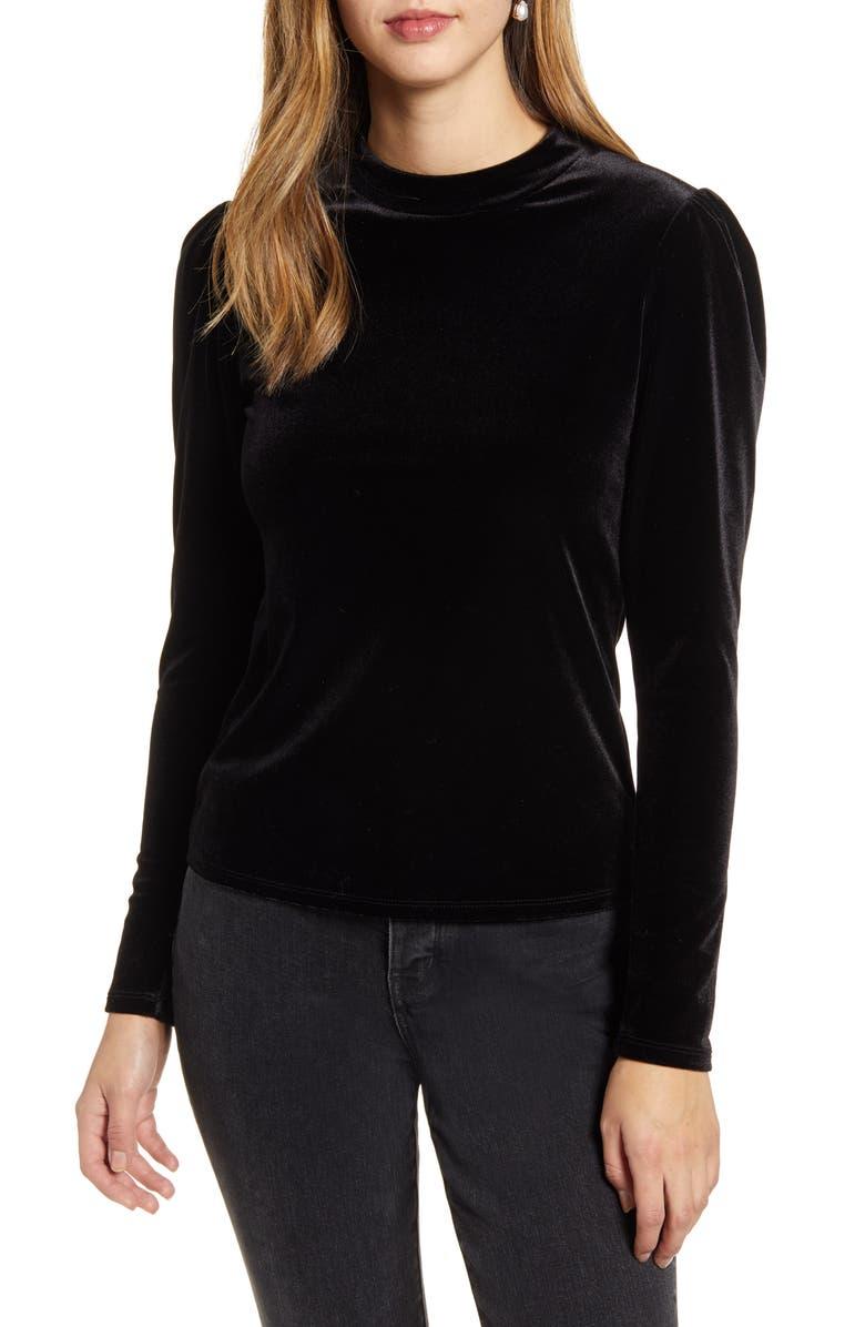 RACHEL PARCELL Puff Shoulder Velour Top, Main, color, BLACK