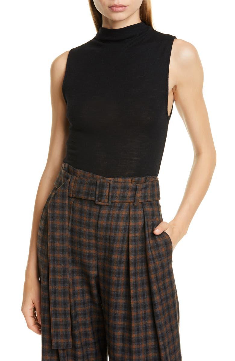 VINCE Sleeveless Wool Sweater, Main, color, BLACK