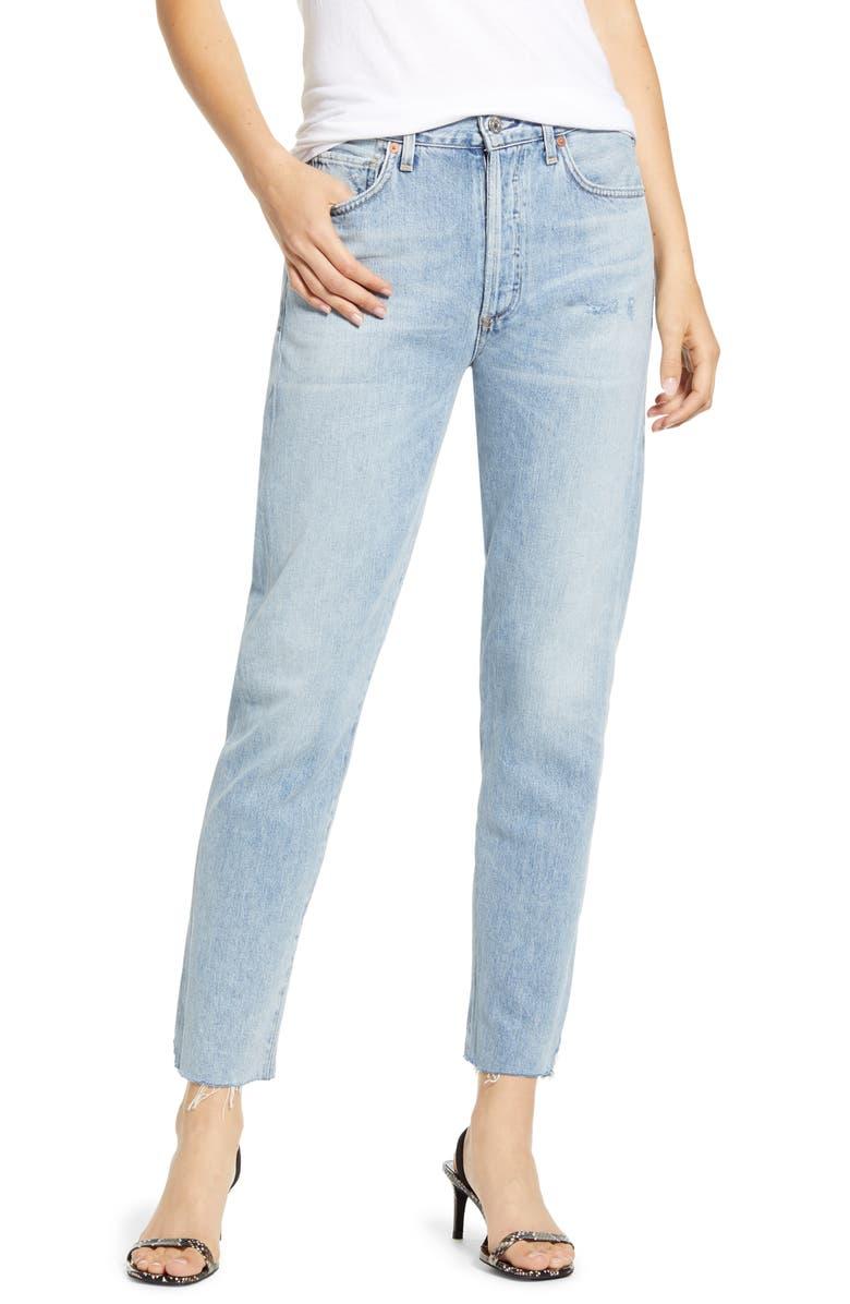 CITIZENS OF HUMANITY Liya High Waist Raw Hem Slim Jeans, Main, color, 453