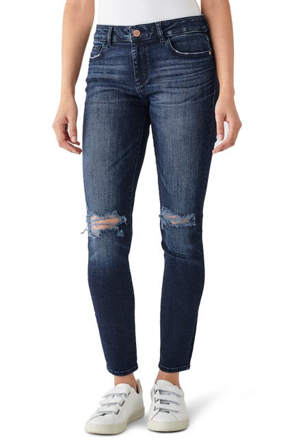 Image of DL1961 Florence Distressed Mid Rise Skinny Jeans