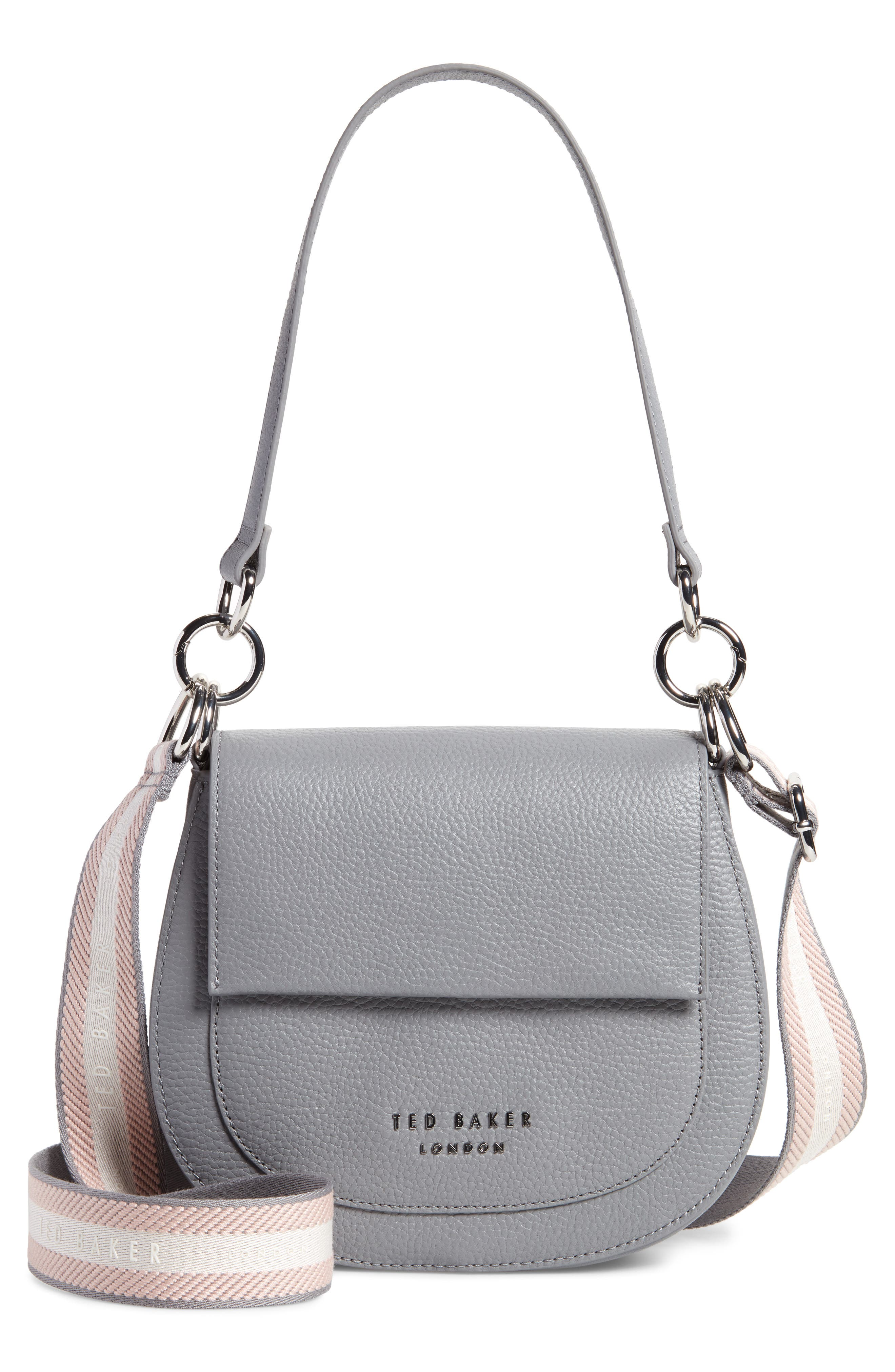 A grainy leather bag lets you mix it up thanks to its two straps, one a traditional leather shoulder strap and the other a bold webbed crossbody strap. Style Name: Ted Baker London Amali Leather Crossbody Bag. Style Number: 5997262. Available in stores.