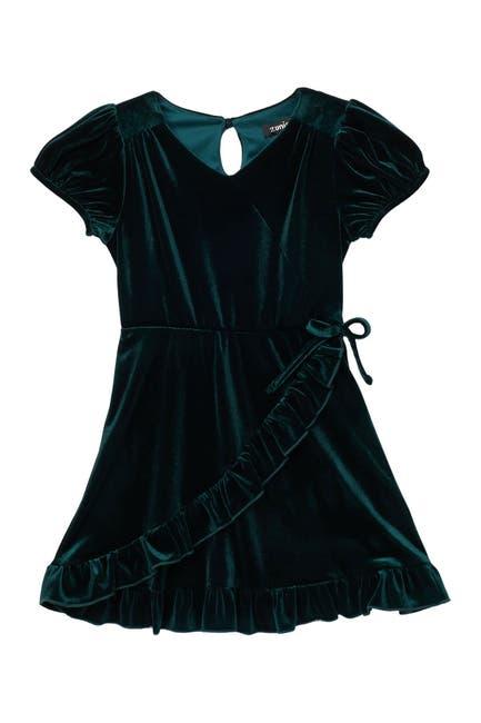 Image of Zunie Puffer Sleeve Velvet Dress