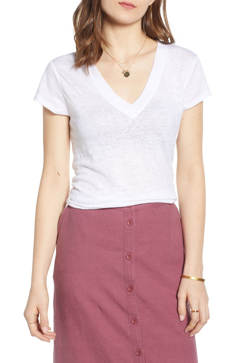 TREASURE & BOND Cap Sleeve V-Neck Linen Tee, Main, color, WHITE