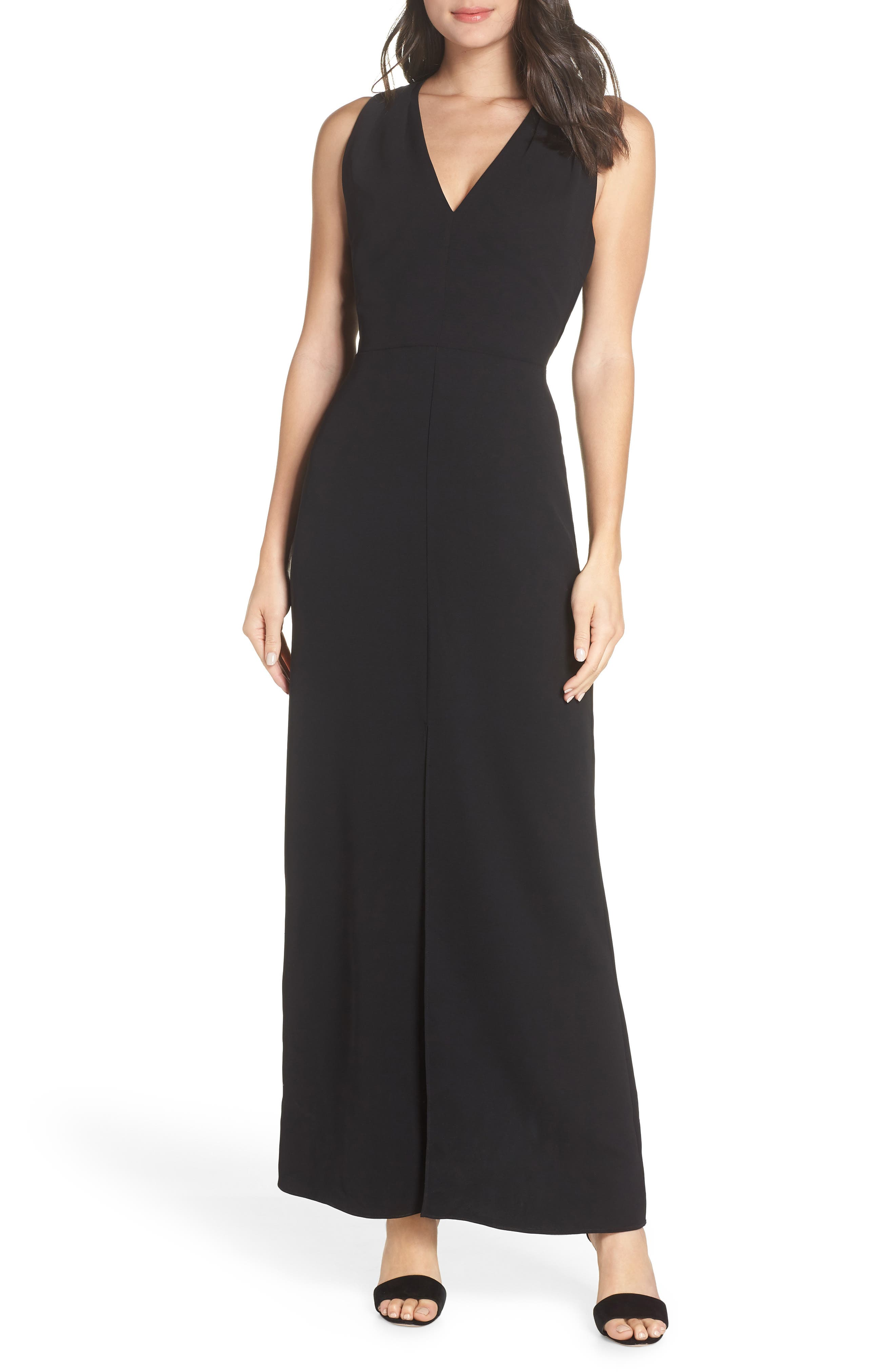 Harlyn Halter Neck Tie Back Evening Dress, Black