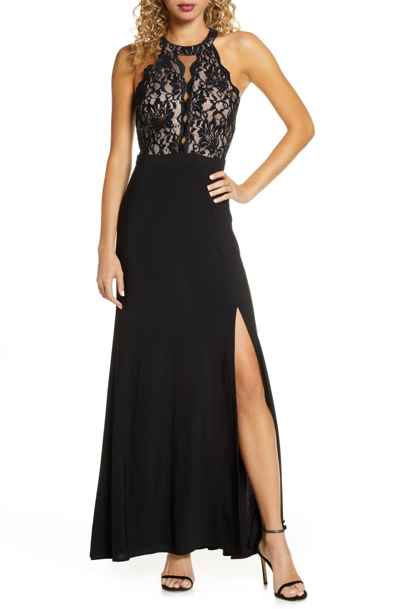 MORGAN & CO. Halter Lace Gown, Main, color, 002