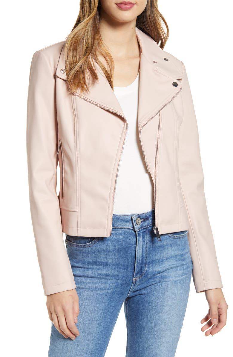 RACHEL PARCELL Faux Leather Moto Jacket, Main, color, PINK QUARTZ