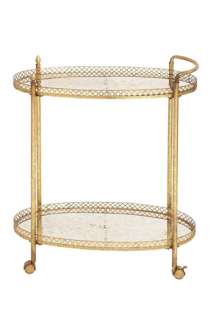 Image of Willow Row Metal Glass Tea Cart
