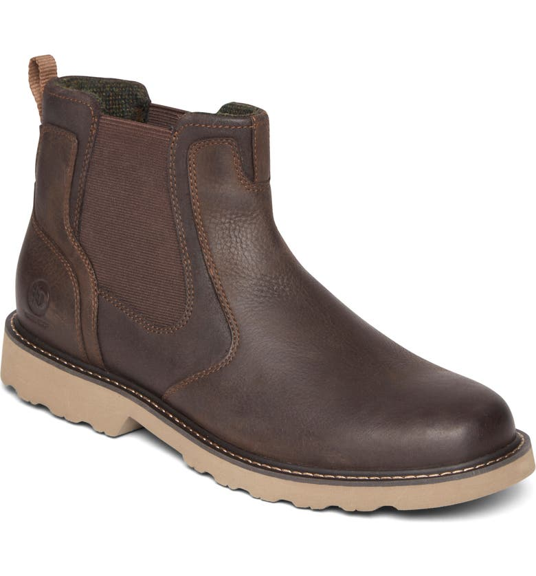 DUNHAM Jake Waterproof Chelsea Boot, Main, color, DARK BROWN
