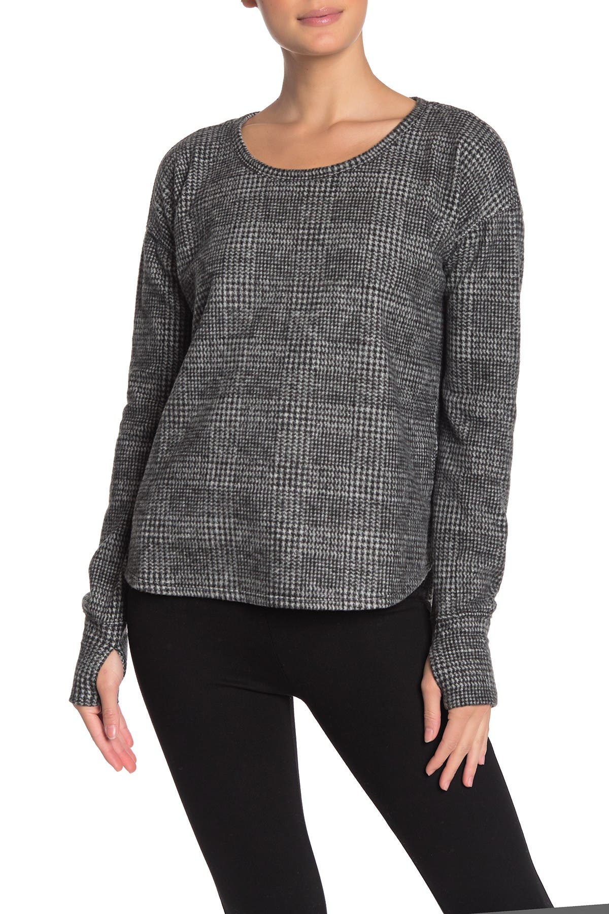 Image of CG Sport Cozy Glen Plaid Print Thumbhole Sweater