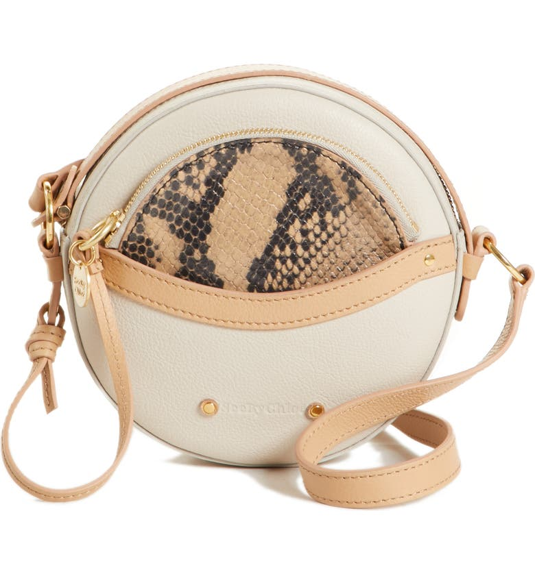 SEE BY CHLOÉ Rosy Mini Leather Crossbody Bag with Faux Snakeskin, Main, color, 100