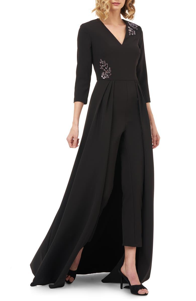 KAY UNGER Margherita Embellished Maxi Romper, Main, color, BLACK
