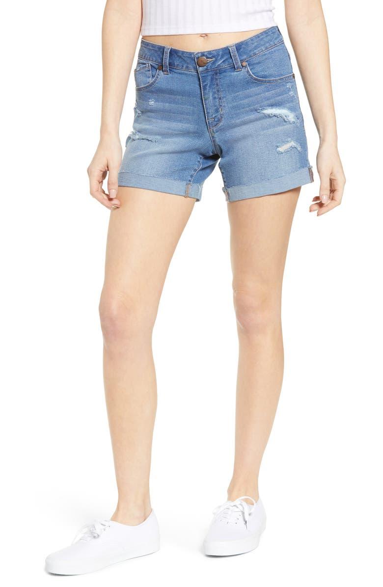 1822 DENIM Distressed Cuffed Denim Shorts, Main, color, INES