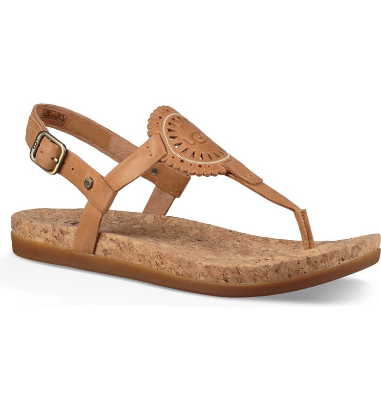 UGG<SUP>®</SUP> Ayden II T-Strap Sandal, Main, color, ALMOND LEATHER