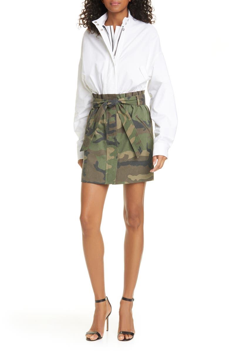 RTA Niccola Mixed Media Long Sleeve Dress, Main, color, WHITE
