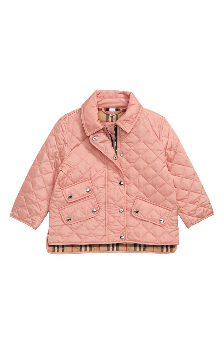 BURBERRY Brennan Water Resistant Diamond Quilted Jacket, Main, color, DUSTY PINK