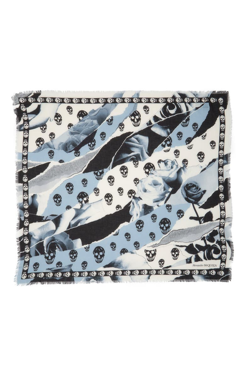 ALEXANDER MCQUEEN Torn Roses & Square Scarf, Main, color, 001
