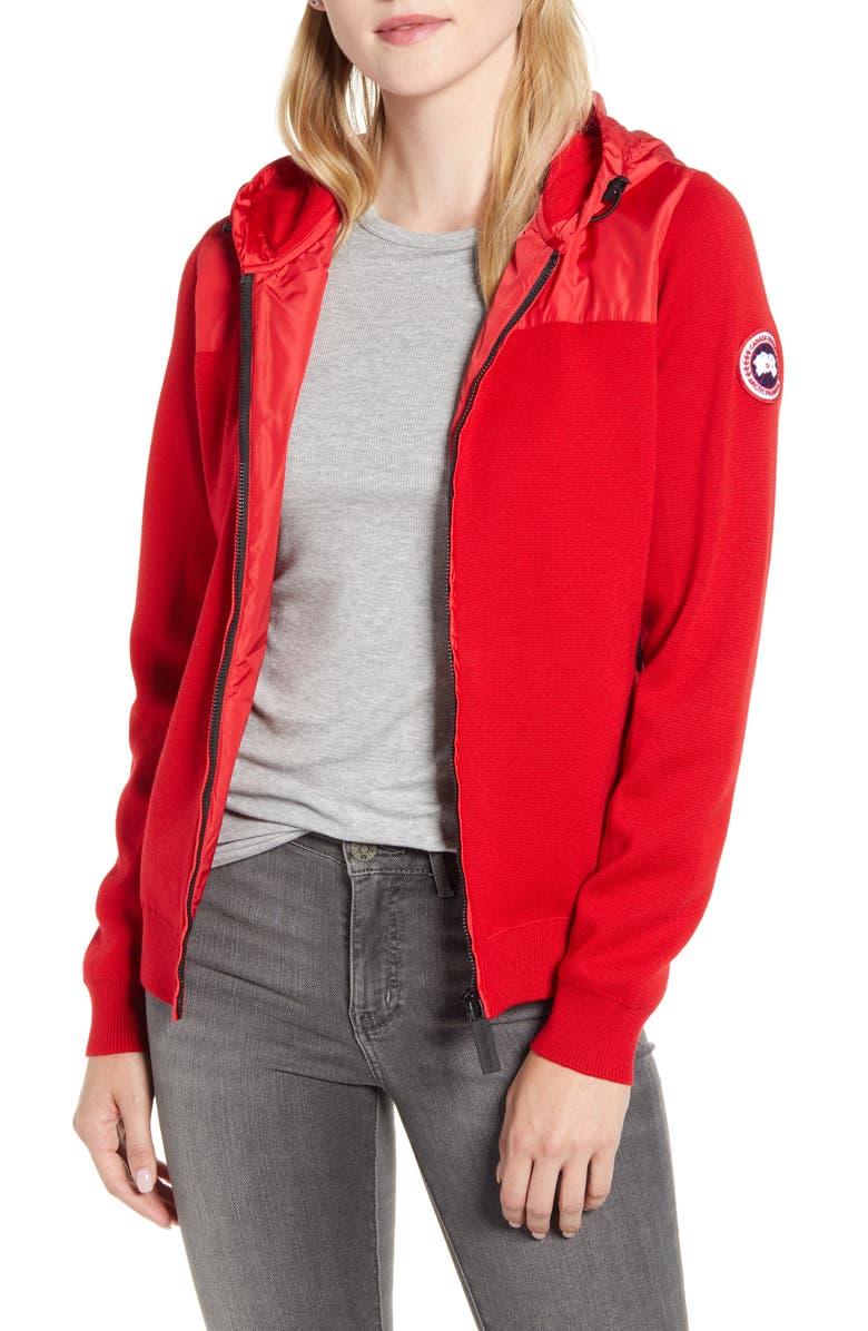 CANADA GOOSE Windbridge Hooded Sweater Jacket, Main, color, RED