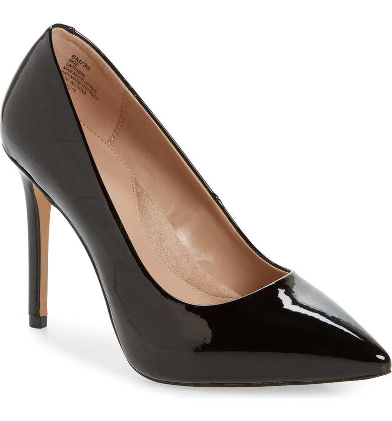 BCBGENERATION Skie Pointed Toe Pump, Main, color, BLACK FAUX PATENT LEATHER