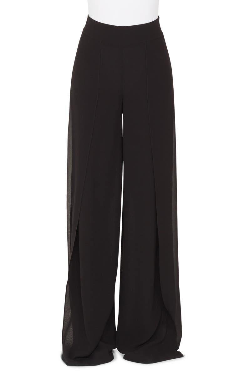 AKRIS Split Front Silk Palazzo Pants, Main, color, BLACK