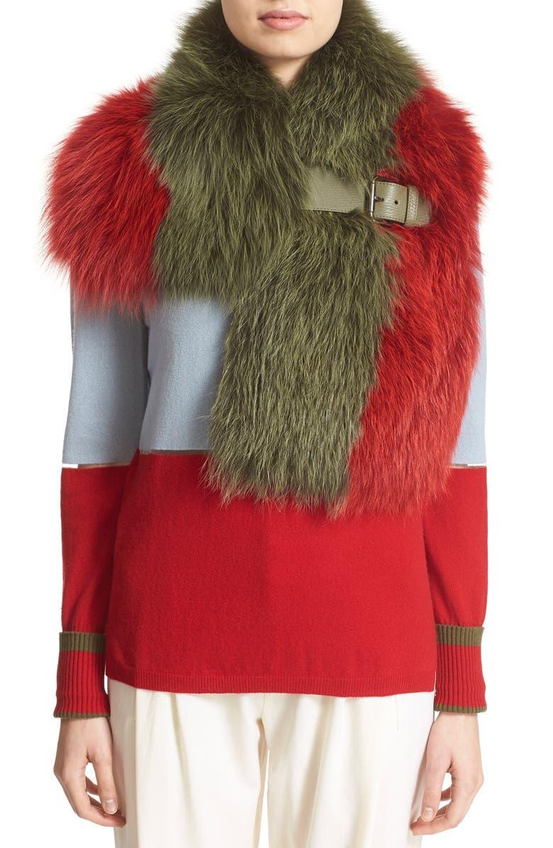 FENDI Leather Trim Bicolor Genuine Fox Fur Stole, Main, color, 601