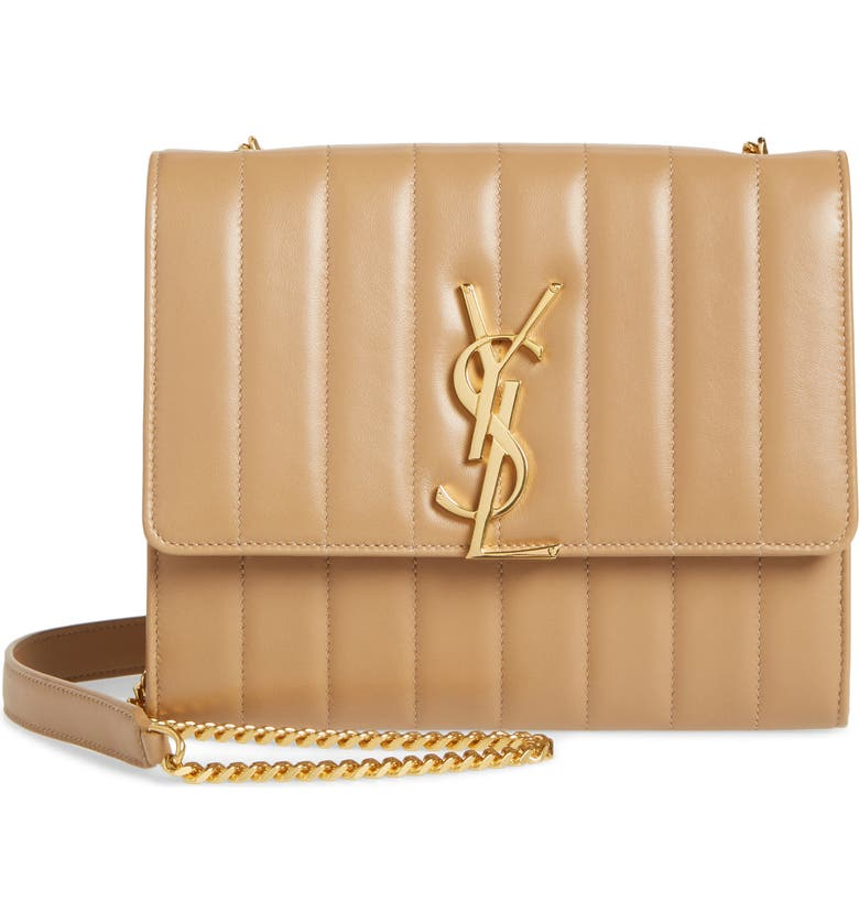 SAINT LAURENT Small Vicky Leather Wallet on a Chain, Main, color, PERU