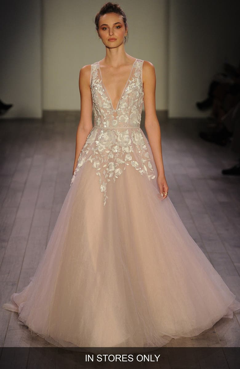 HAYLEY PAIGE Leah Floral Sequin V-Neck Tulle Ballgown, Main, color, AMETHYST