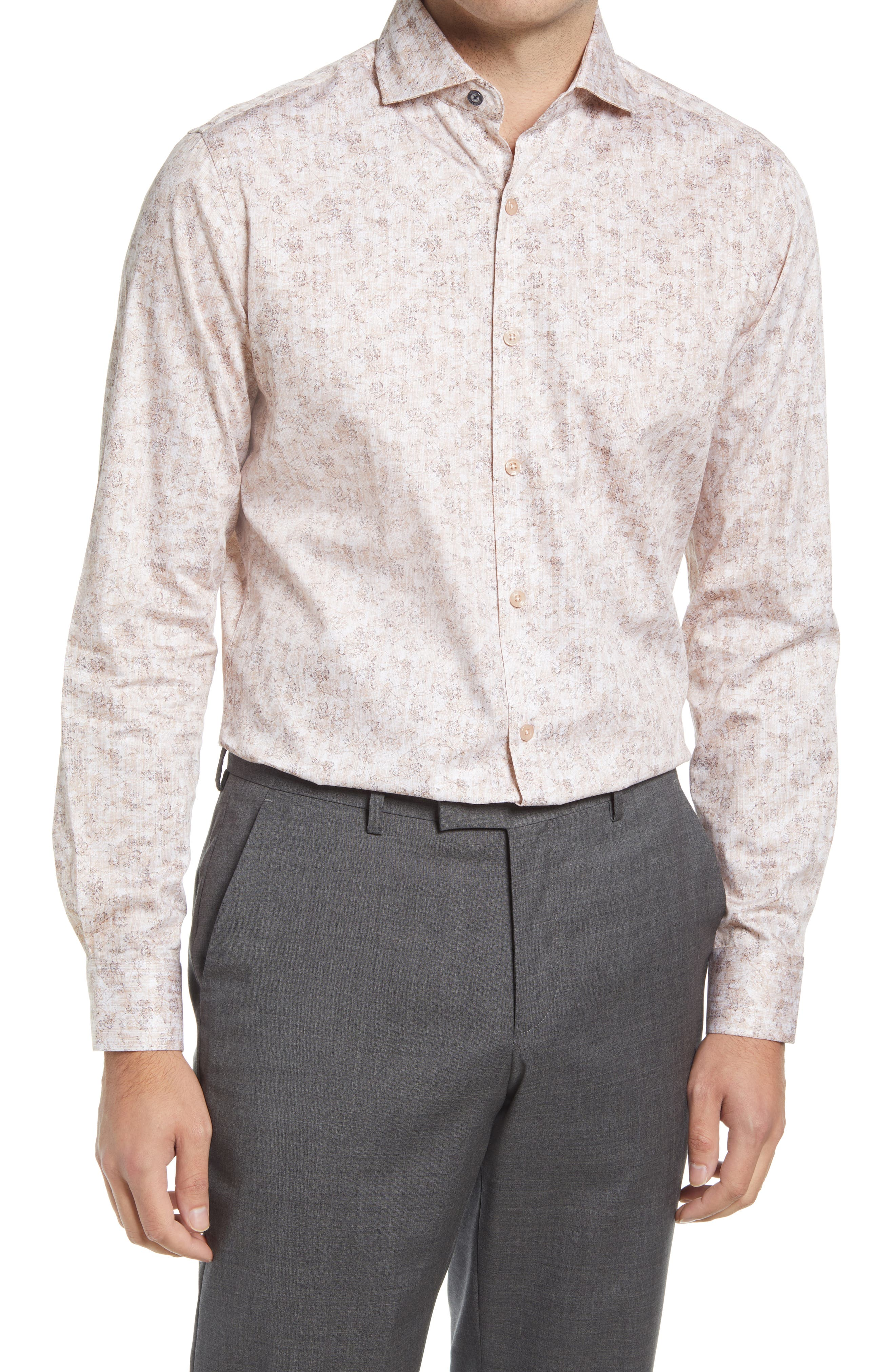 Men's Tailored Fit Floral Dress Shirt