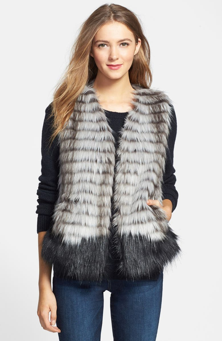 KRISTEN BLAKE Two-Tone Faux Fur Vest, Main, color, 001