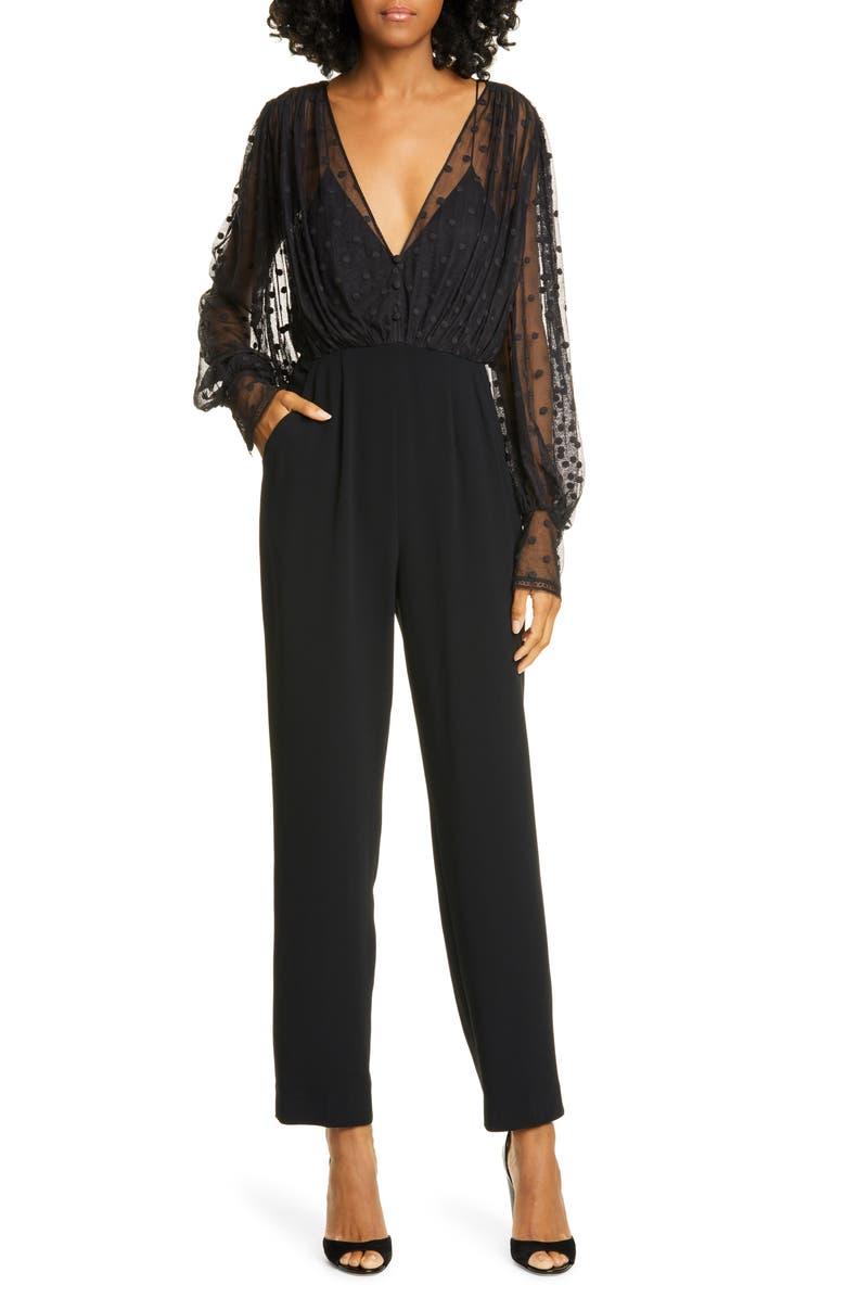 SALONI Bernadette Tulle & Crepe Jumpsuit, Main, color, 02-BLACK