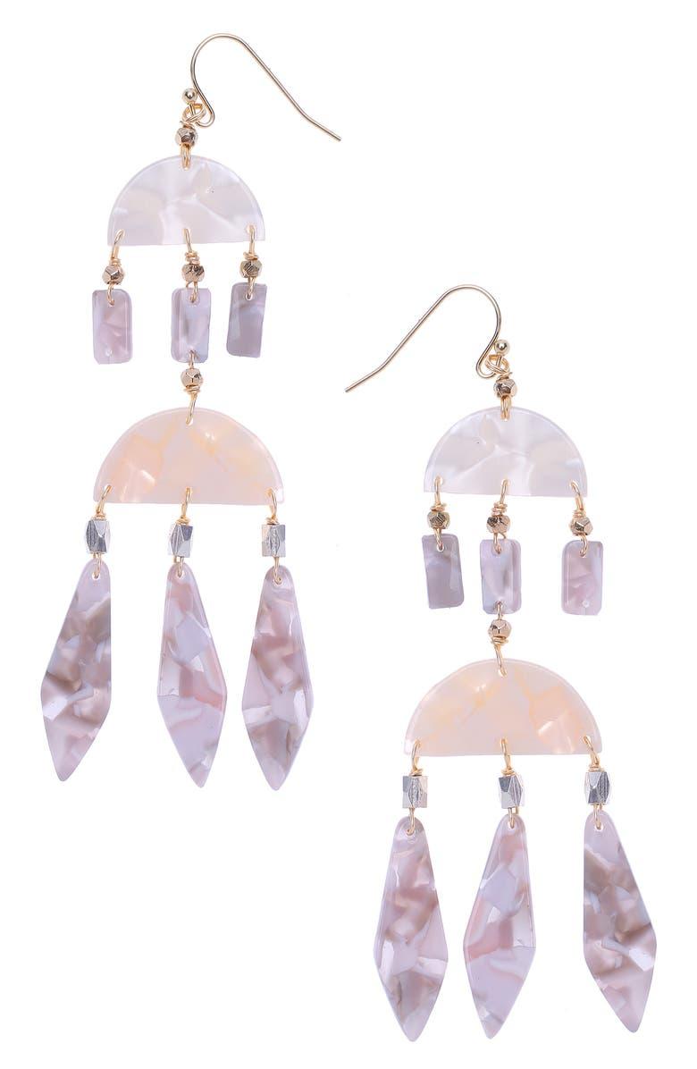 NAKAMOL DESIGN Geometric Drop Earrings, Main, color, WHITE