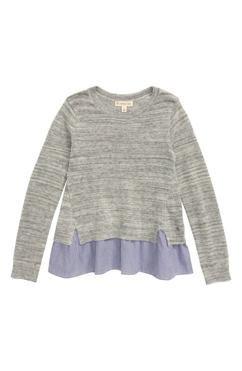 TUCKER + TATE Mix Media Pullover, Main, color, GREY ASH HEATHER