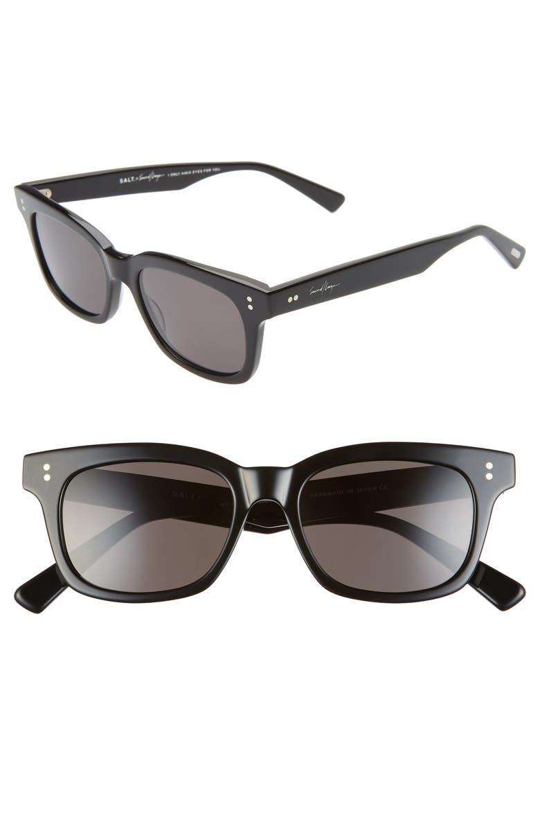 SALT. Chico 49mm Polarized Sunglasses, Main, color, BLACK / SILVER