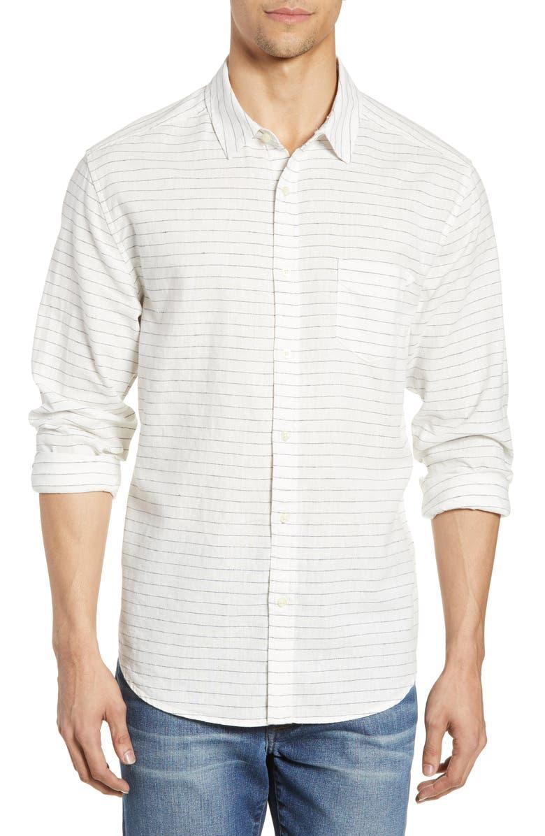 LIFE/AFTER/DENIM Masarky Regular Fit Stripe Linen Blend Sport Shirt, Main, color, 111