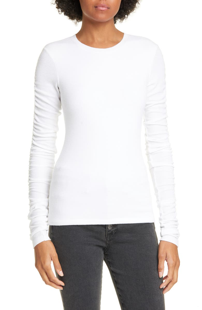 VERONICA BEARD Clement Ribbed Top, Main, color, WHITE