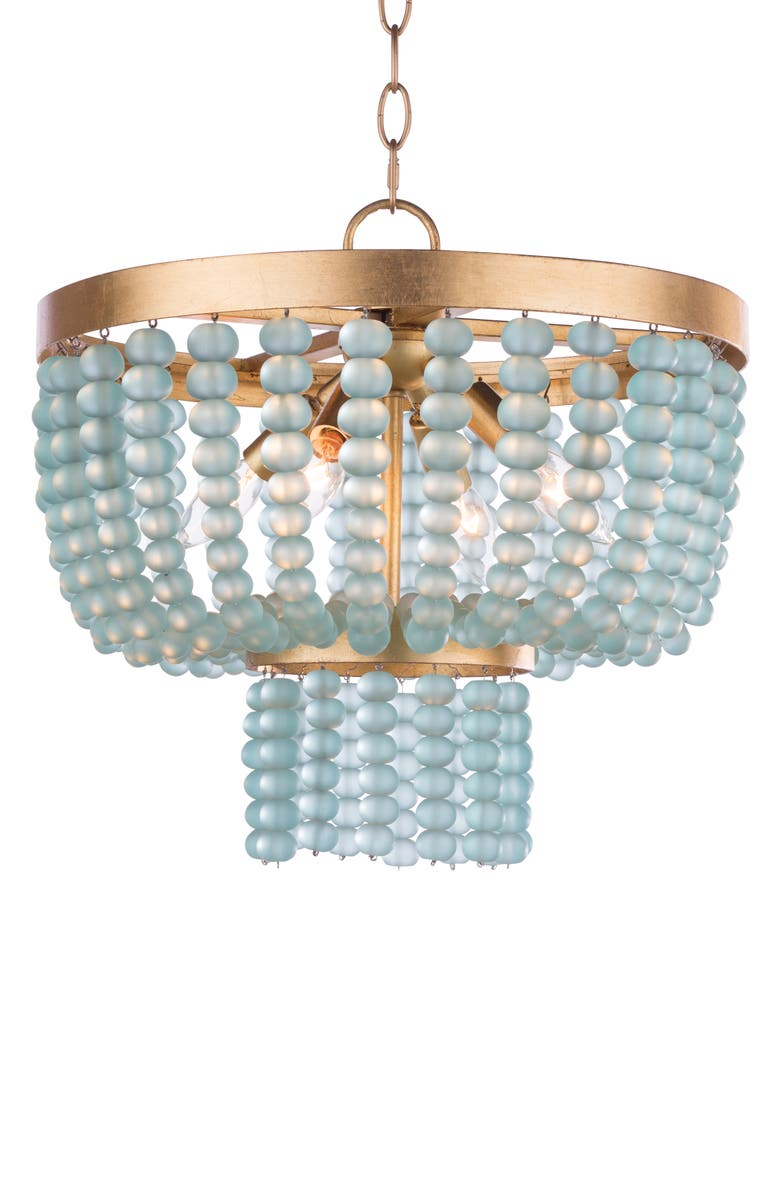REGINA ANDREW DESIGN Summer Glass Bead Chandelier, Main, color, BLUE