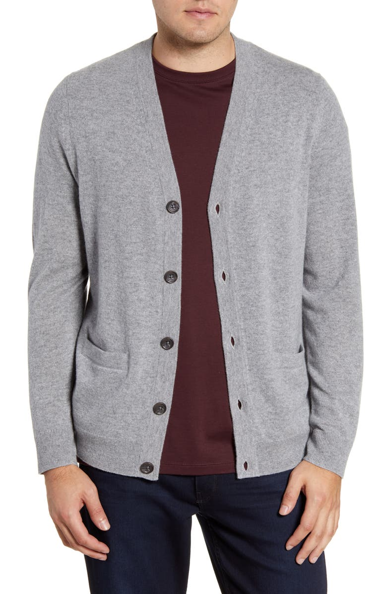NORDSTROM MEN'S SHOP Cashmere Button Front Cardigan, Main, color, GREY DRIFTWOOD HEATHER