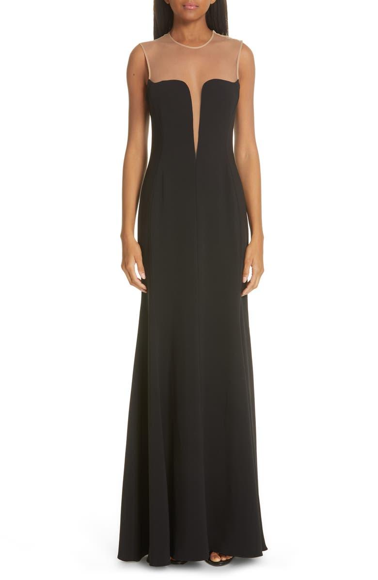 STELLA MCCARTNEY Illusion Yoke Dress, Main, color, 001