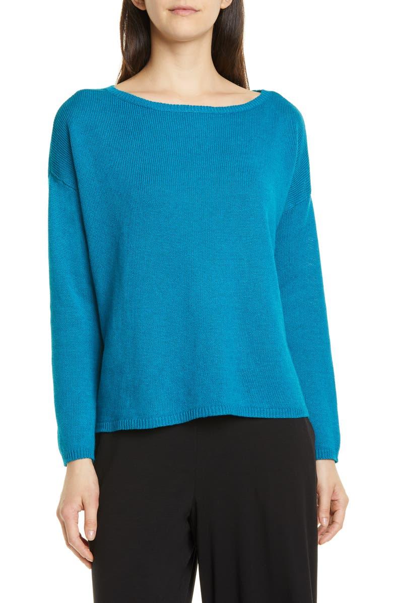 EILEEN FISHER Bateau Neck Organic Linen & Cotton Sweater, Main, color, 400