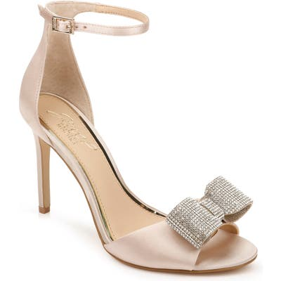 Jewel Badgley Mischka Urania Crystal Bow Ankle Strap Sandal, Pink
