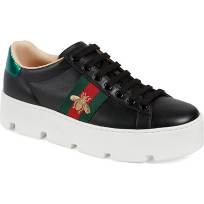 Gucci New Ace Platform Sneaker, Black