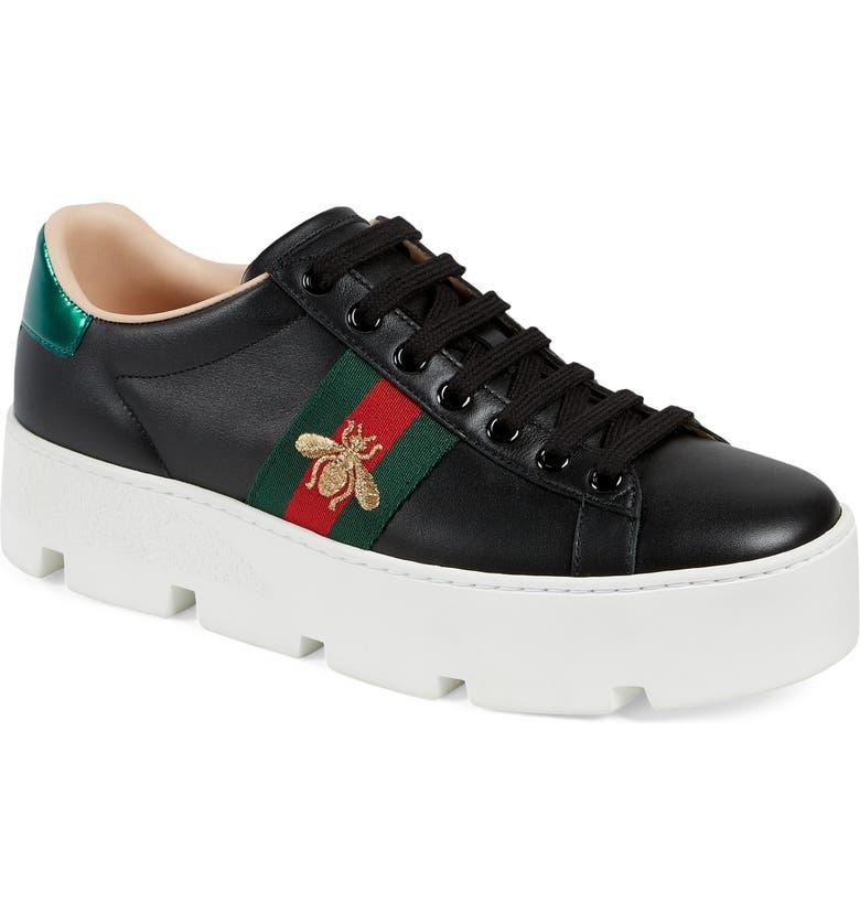 GUCCI New Ace Platform Sneaker, Main, color, BLACK